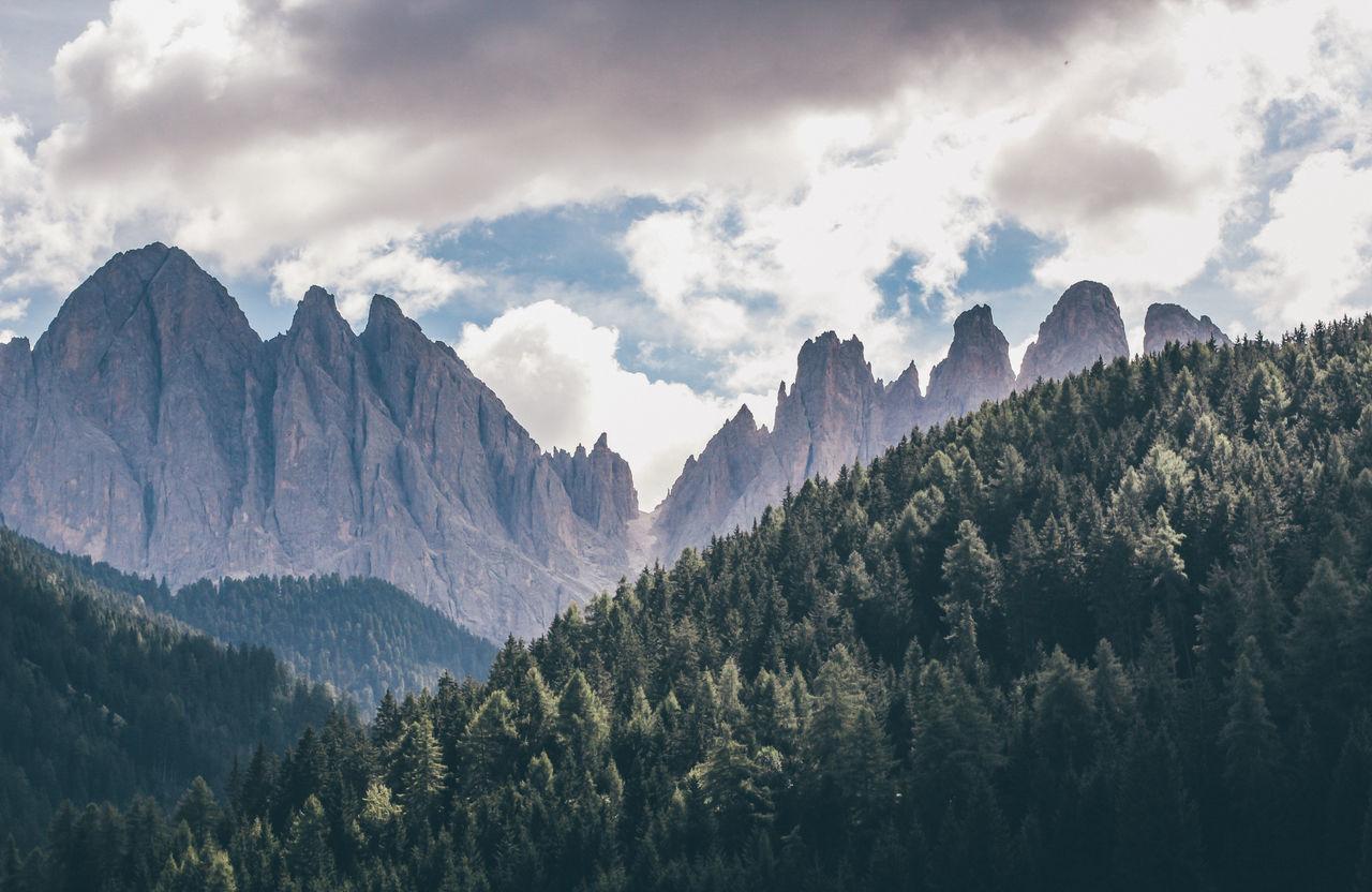 Villnöß and its breathtaking mountain range. Beauty In Nature Cloud - Sky Day Dolomites Dolomites, Italy Dolomiti Landscape Mountain Mountain Range Nature No People Outdoors Scenics Sky Tree Trees Villnöss Villnöß Tal Wood