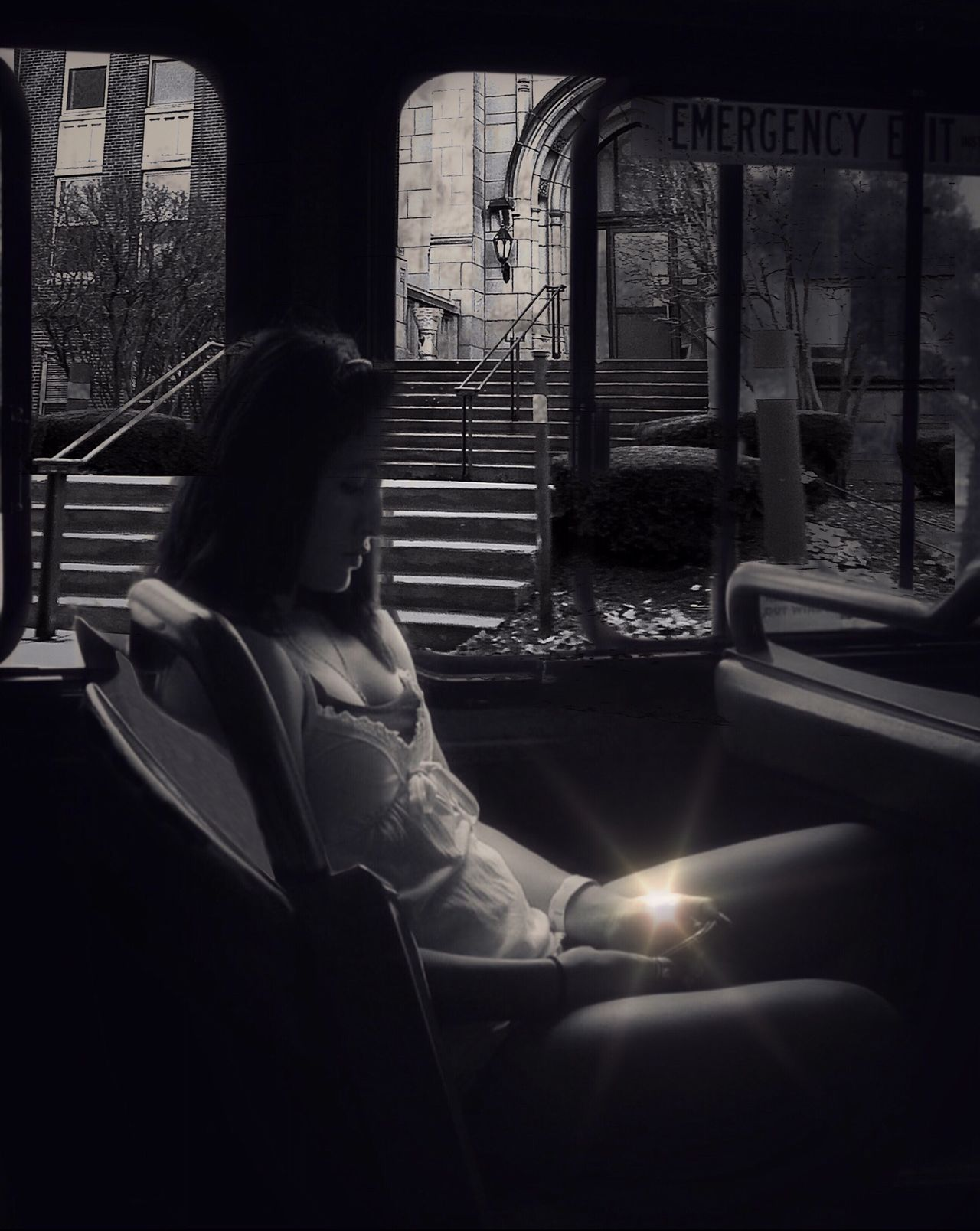Embrace Urban Life Sitting Window One Person Real People Lifestyles Indoors  Day Women Adult City Bus Downtown Looking Down Light Reflection The Week On Eyem Exceptional Photographs Black & White Blackandwhite Photography Eyeam_bestshot EyeEm Masterclass Fine Art Photography Traveling Home For The Holidays
