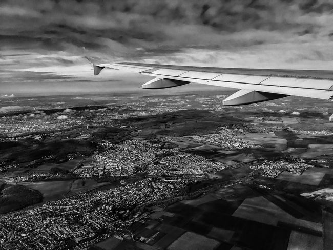 Monochrome Photography Airplane Cropped Flying Part Of Transportation Aircraft Wing Air Vehicle Mode Of Transport Landscape Travel Aerial View Scenics Journey Cloud Tranquil Scene Tranquility Cloud - Sky Sky Nature Day Landscape_Collection Landscape_photography