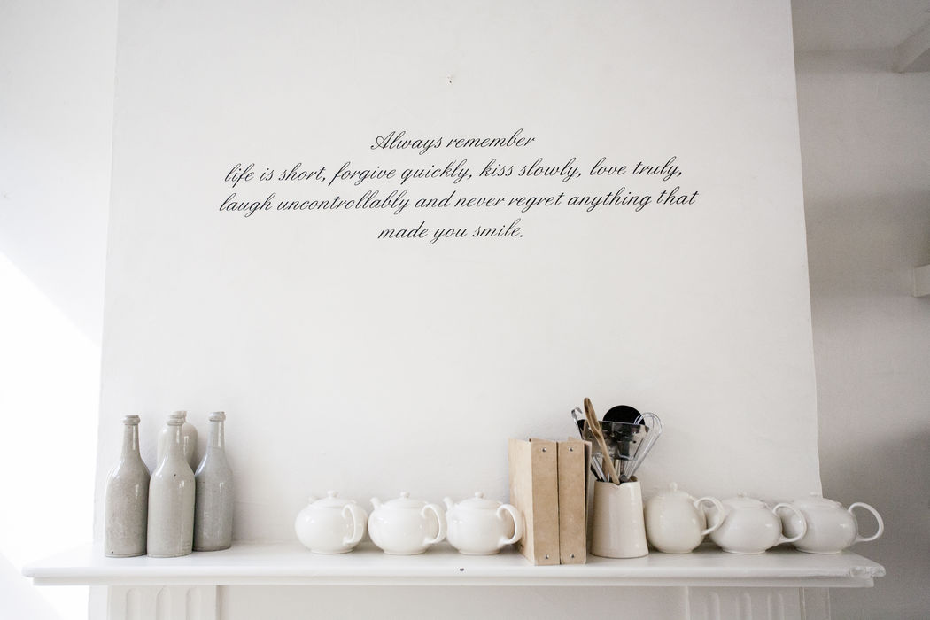 White Arangement Arrangement Business Communication Home Indoors  Saying Still Life Tea Pots Text Typography Wall White White Background