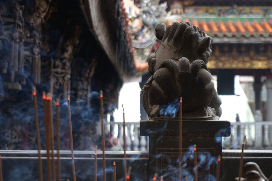 Built Structure Burning Lions Place Of Worship Religion Taiwan Temple Thus