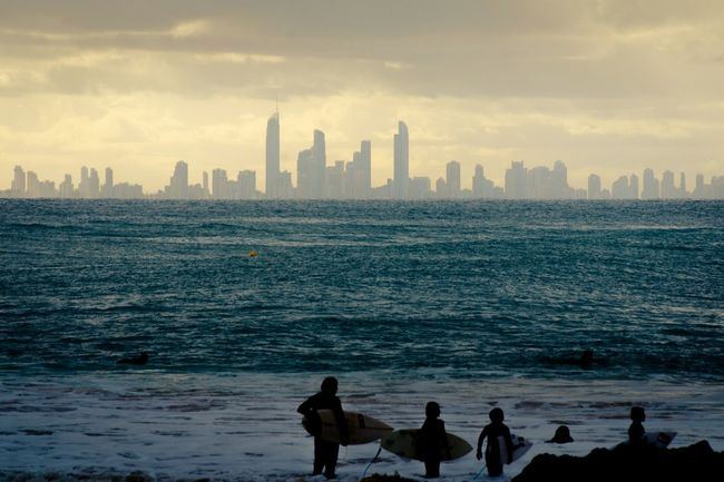 Australia Gold Coast Surfers Paradise Watching Surfers Sundowner Before Sunset Science Fiction Skyline Wideopenspaces The Adventure Handbook