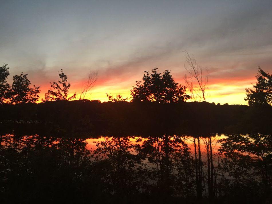Sunset over Lake Gleneida in Carmel, New York Sunset Scenics Tranquil Scene Lake Water Orange Color Idyllic Majestic