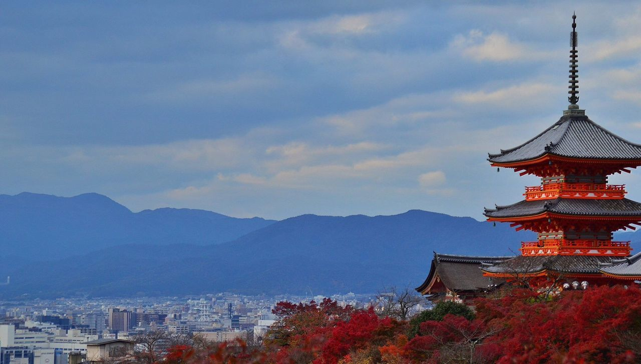 Kyoto TOWNSCAPE Outdoors Residential Building Weather City Sky Pagode Temple Mountain Range Cityscapes Beauty Architecture Japan Kyoto,japan Traditional