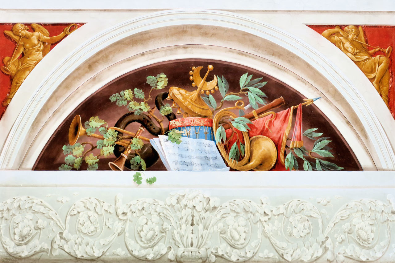 Exploring Style Wall Decoration Wall Painting Old Painted Wall Music Painting Architectural Feature Interior Style Interior Decoration Ancient Beauty Pictorial Art Ducal Palace Stucco Decoration Motifs