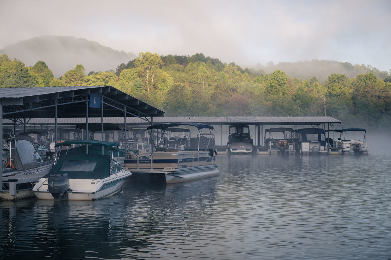 Beauty In Nature Boat Day Docks Fog Foggy Morning Lake Light Mountains Nature Nautical Vessel No People Outdoors Water Waterscape