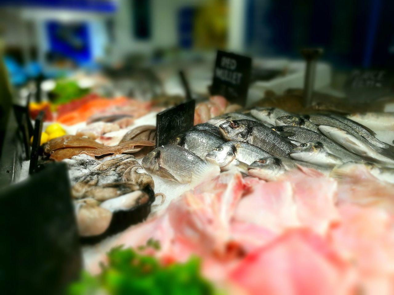 Food And Drink Food Selective Focus Arrangement Market Stall Market Freshness Healthy Eating Choice Variety Surface Level Abundance Fresh Fish Market