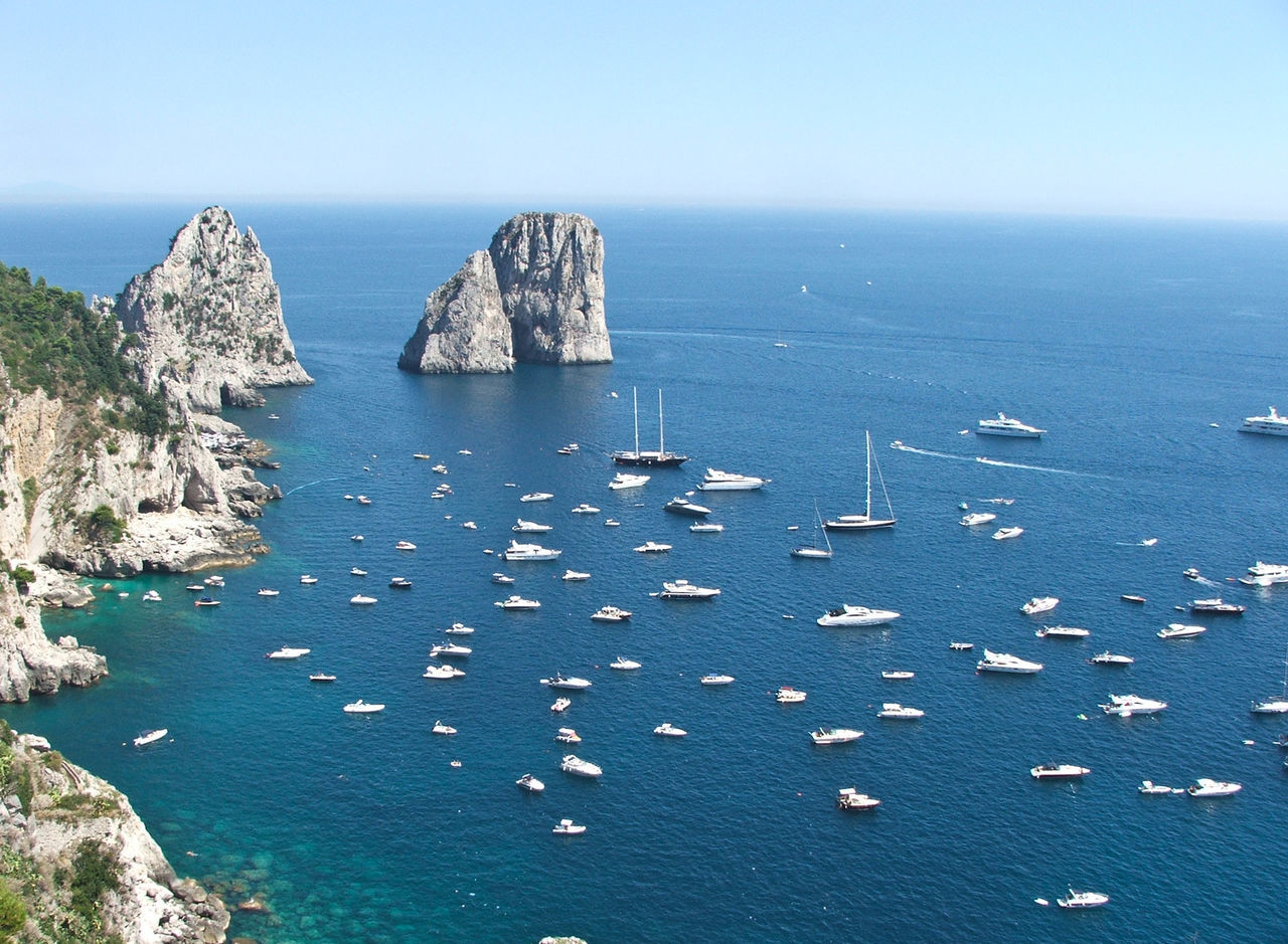 Boat Capri, No People Travel, Rocky, Bright, Sunshine, Nature Island View  Power In Nature Naples, Italy Travel Destinations Beauty In Nature Beach Horizon Over Water Coast Green