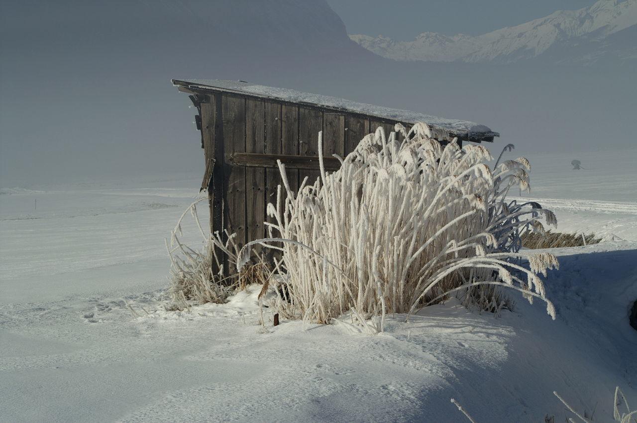 Schweiz Switzerland Wallis Leuk Hütte Cottage Schilf Reed Winter Winter Wonderland Wintertime Winterwonderland Schnee Berge Mountains Kalt Cold Cold Temperature