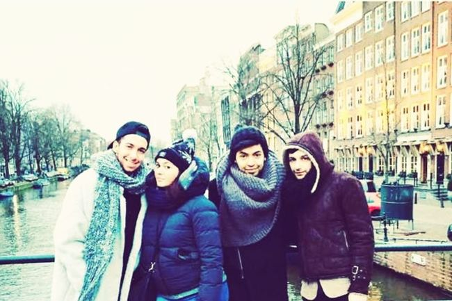 Friends Traveling Lovely Amsterdam Canal Winter Cold Days Beautiful Day The Most Beautiful City