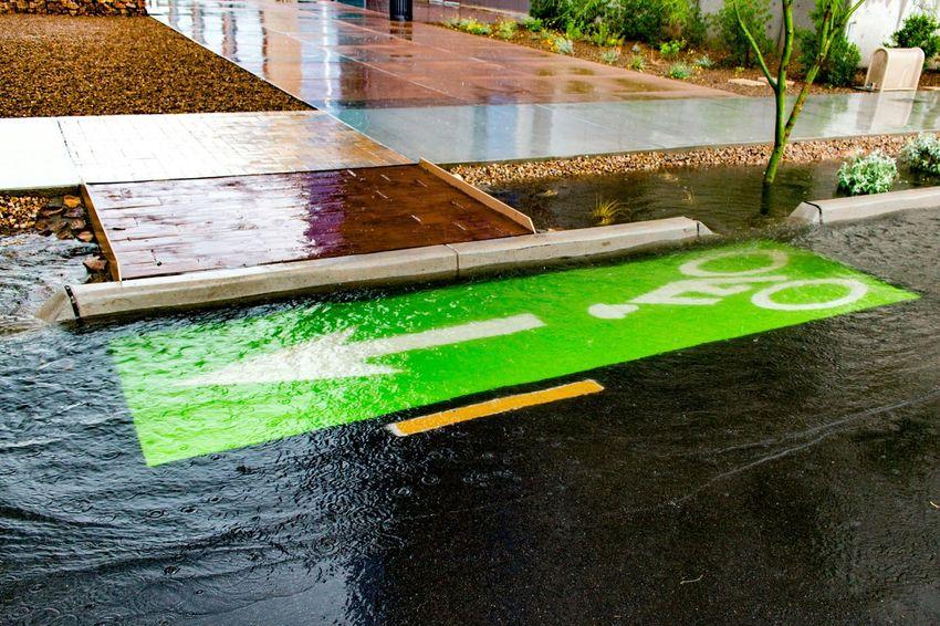 Bike Lane Bike Lanes Green Protected Bike Lane Rain Monsoon Water City Of Tucson Photography Wet