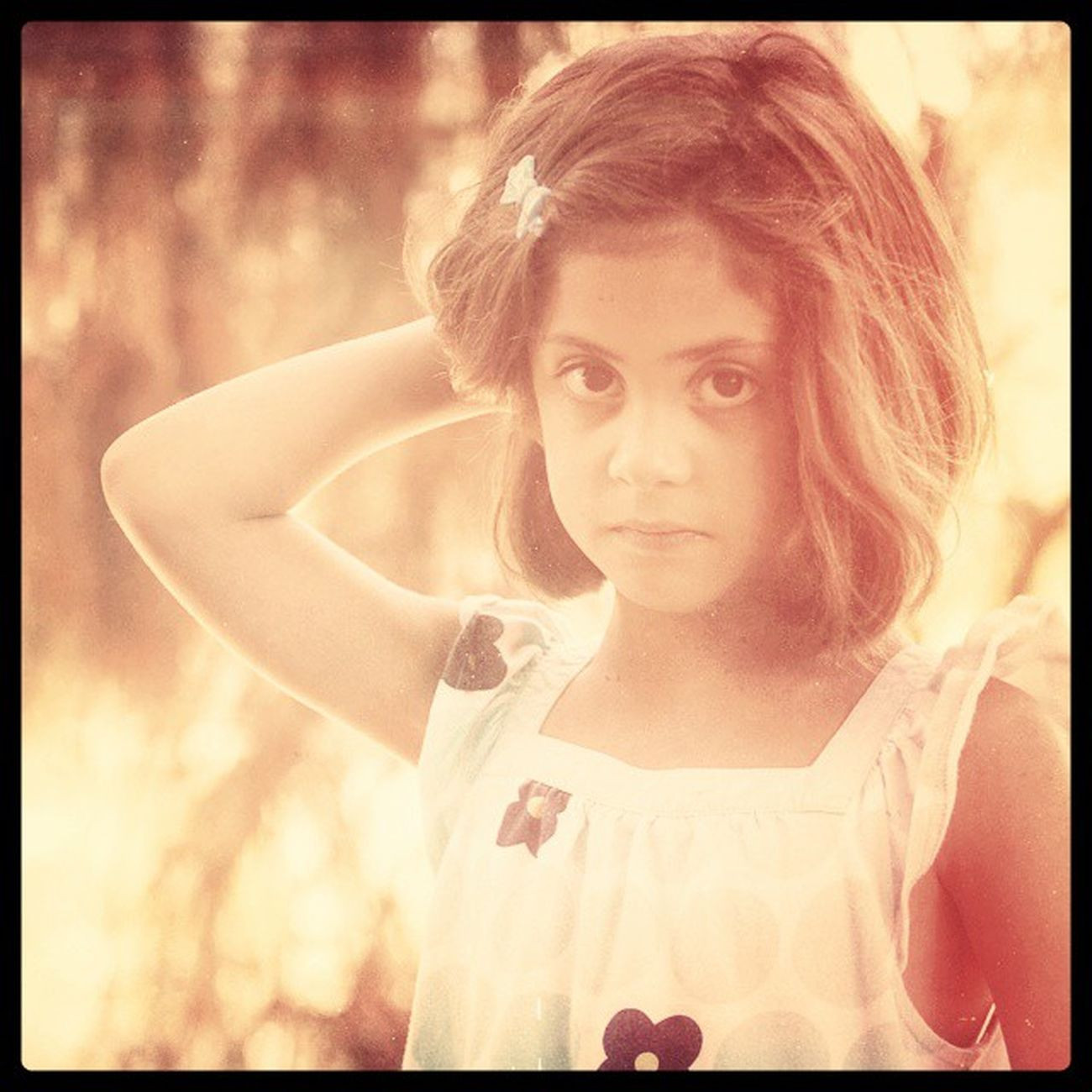 Image created with Snapseed . Portrait in the @park with Sofia . Kidsofibstagram Children Pensive Arboretum Ucdavis Nature Soft Sepia