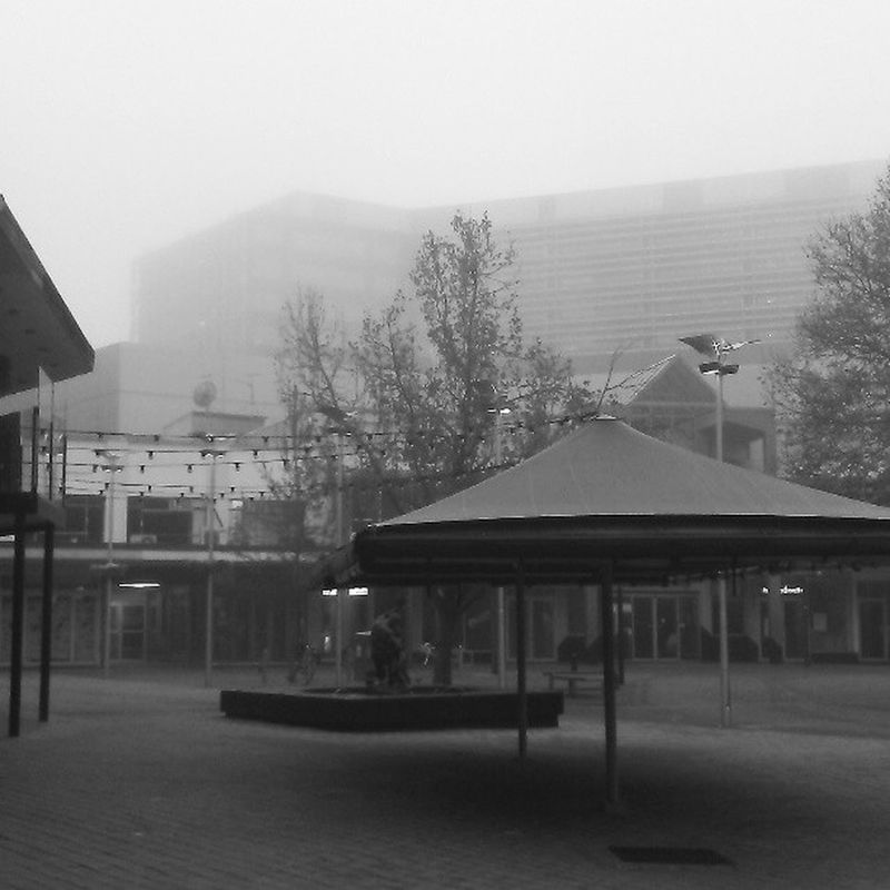 The heart of Civic Canberra , Deserted on a Foggy morn