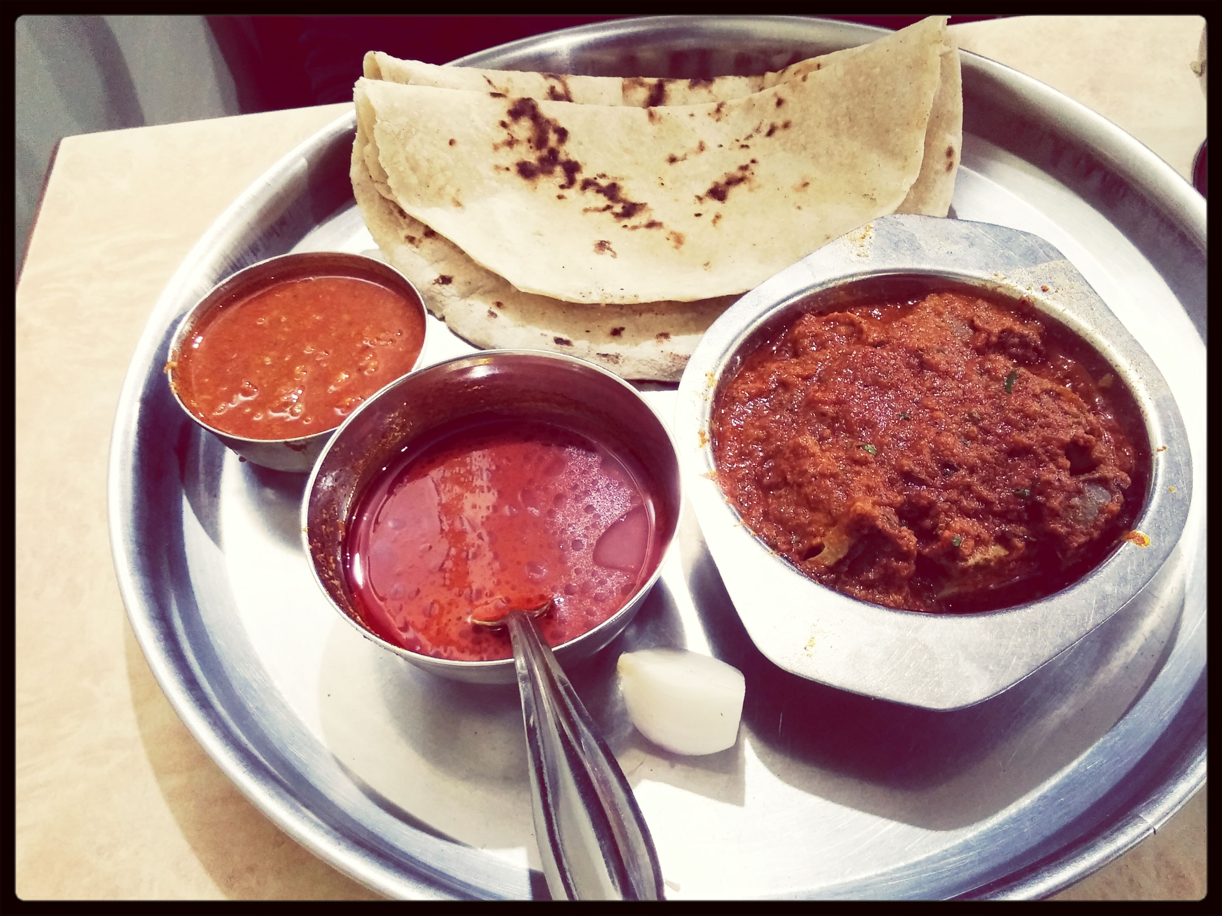 Pure indian non veg dinner Eating Spiced Up Taking Photos