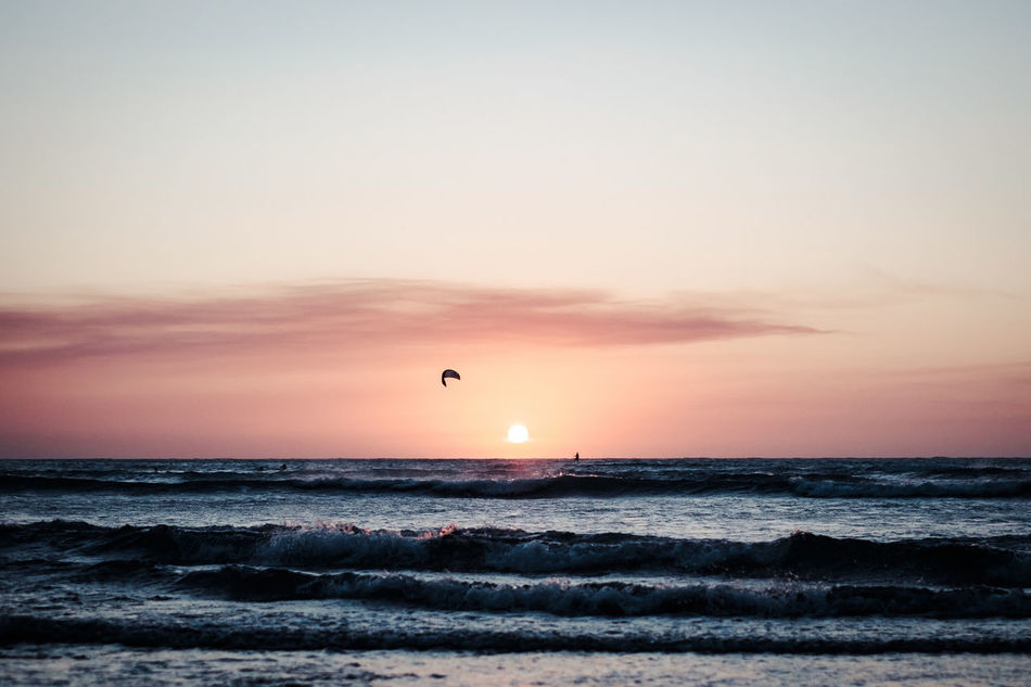 Anywhere the wind blows Beach Beauty In Nature Brasil Clear Sky Day Horizon Over Water Jericoacoara Kite Kitesurfing Nature Orange Color Outdoors Scenics Sea Sky Sun Sunset Tranquil Scene Tranquility Water Wave
