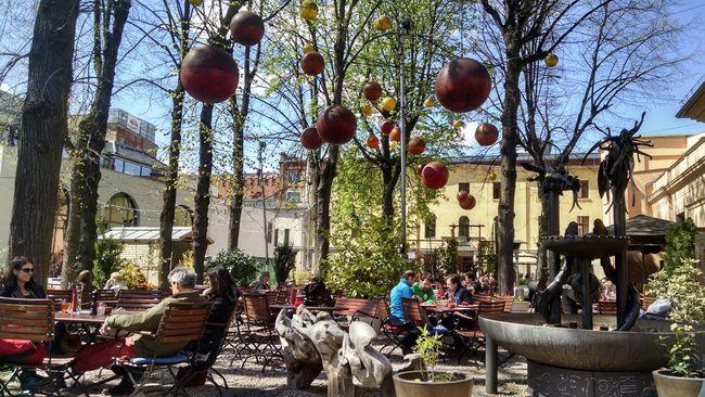 Planets in the sky. Beergarden  Sitting In The Sun Lunch Break