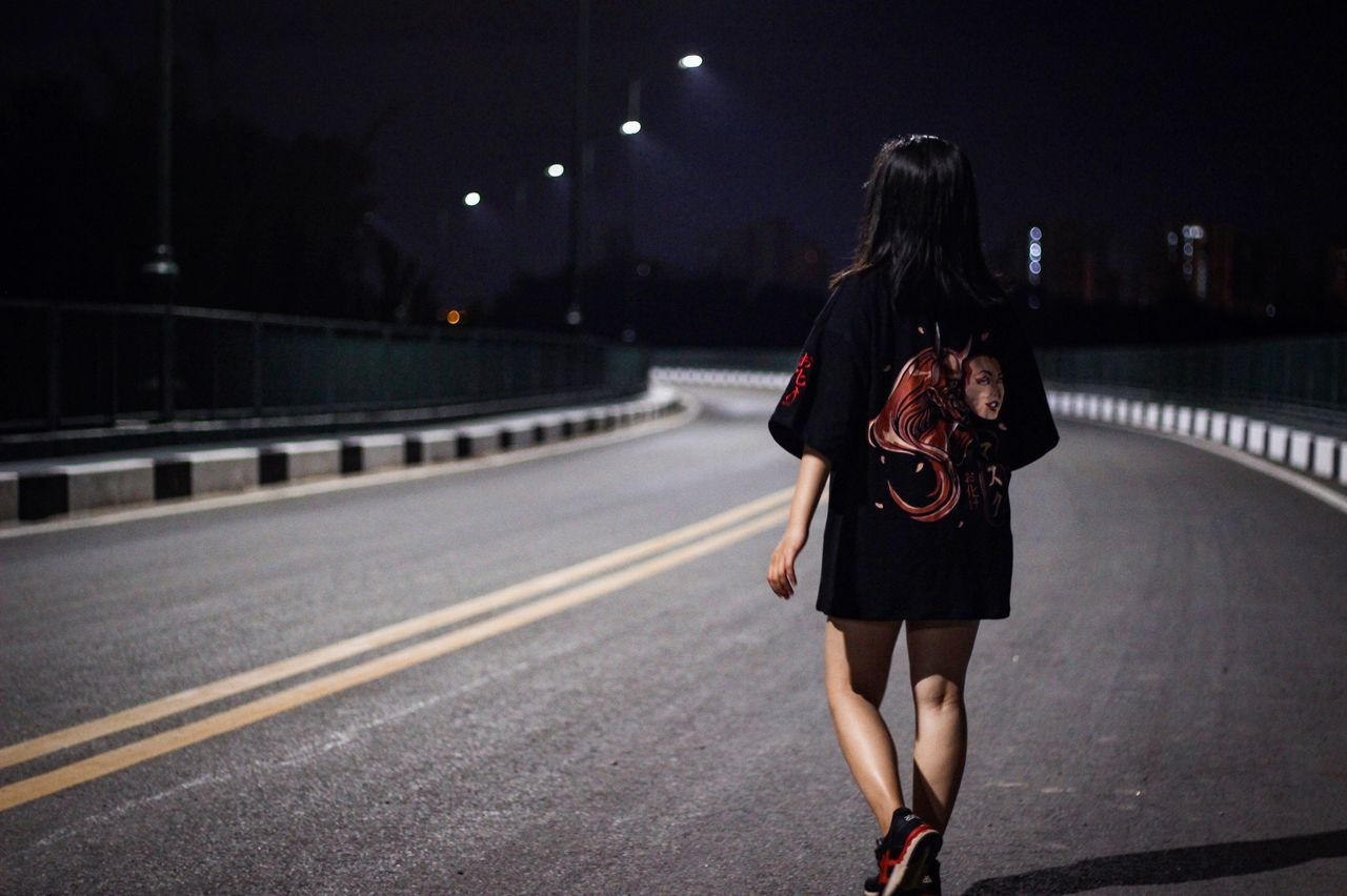 Real People Rear View Full Length Night Casual Clothing Long Hair Bridge - Man Made Structure Transportation Illuminated Women Built Structure Architecture Young Adult Adult People
