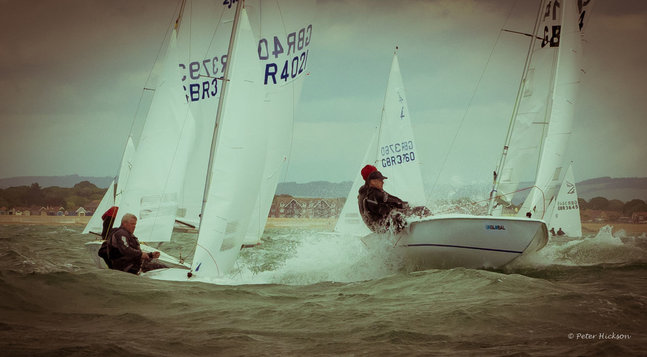 Rough weather during the Flying Fifteen National Championships in Hayling Bay Racing Hayling Island  Sailboat Sea Waves Dinghywaves Wind Flying Fifteen Championship Vignette Old-fashioned