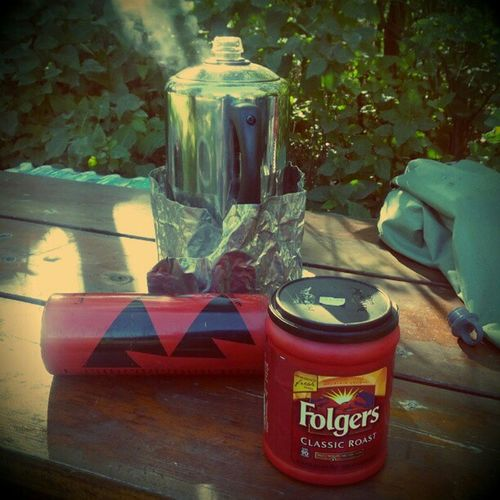 The best part of waking up, is Folgers in your cup. Camping