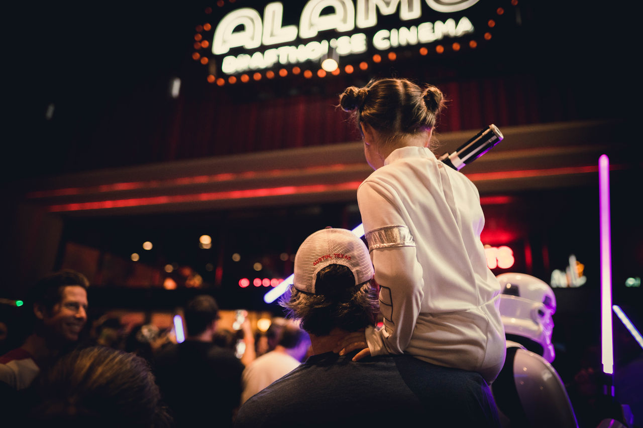 Little Princess. Carrie Fisher Princess Leia Star Wars Kids Lightsaber Cinema Disney Rear View Arts Culture And Entertainment Crowd Performance People Nightlife Music