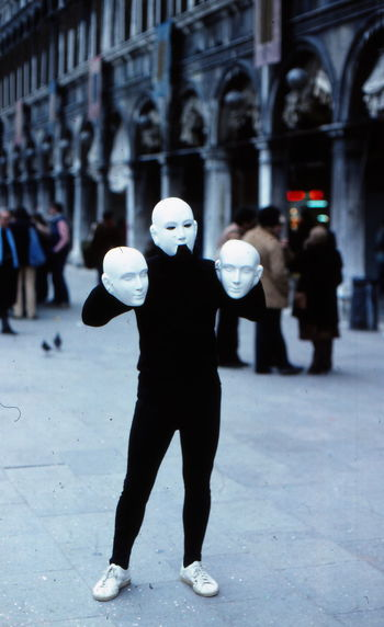 Black Clothing Colors Of Carnival Front View Person Real People Standing Three Faces Venice Carnival White Masks White Shoes