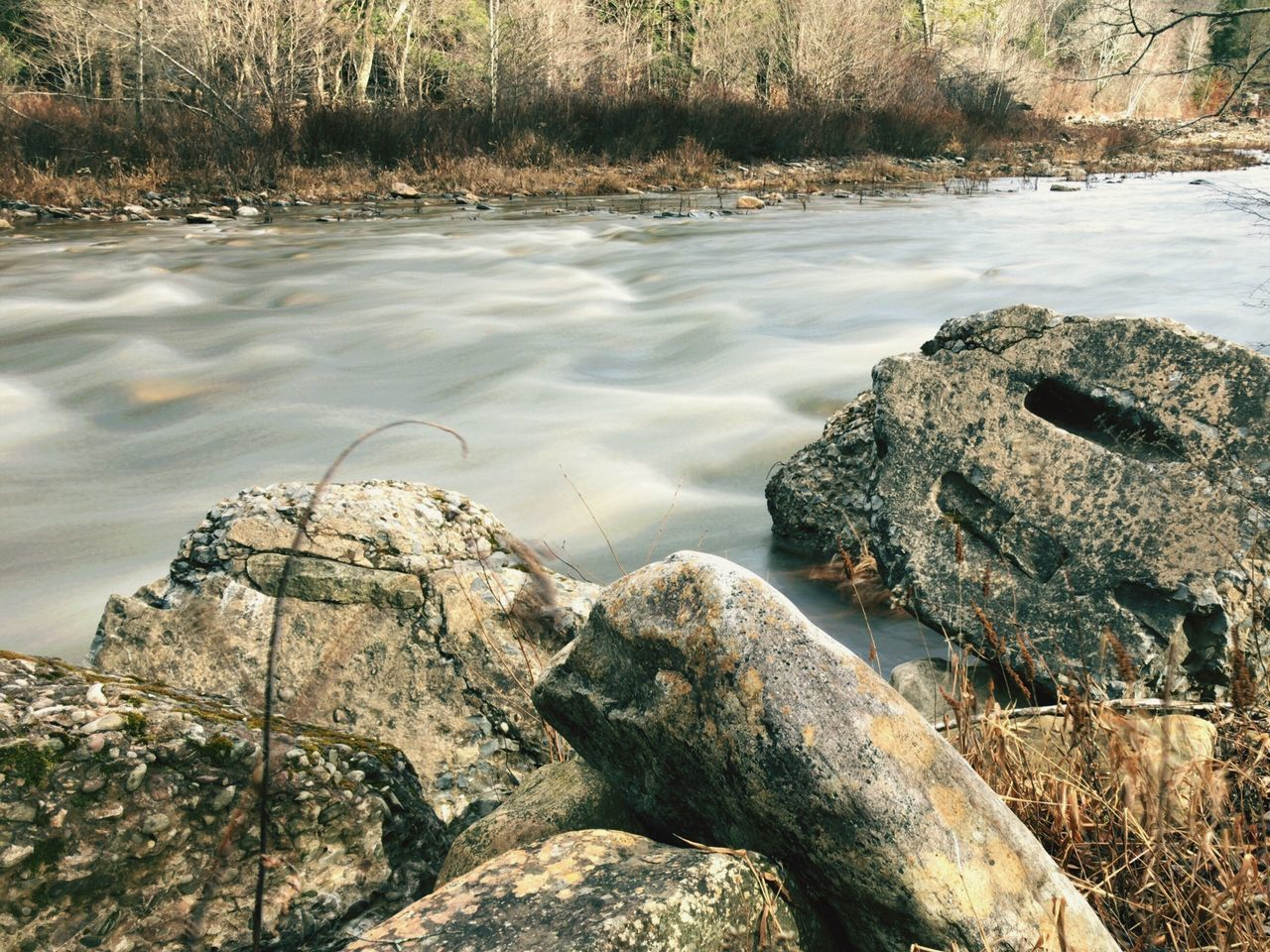 Water River Outdoors Nature Rock - Object Tranquility Beauty In Nature No People Tree Trees And Nature Water Reflections Winter Stream Senic Senic View Flowing Water Flowing Stream Flowing River Flowing Water In A Creek