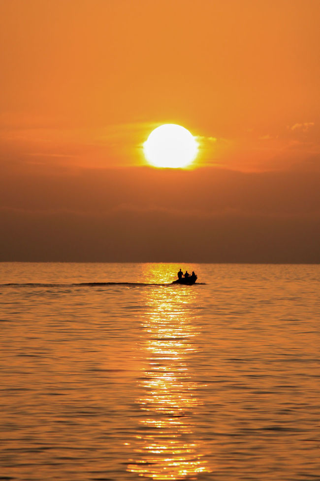 fishing boat crossing over the reflection of the sun Boat Horizon Over Water Idyllic Nature Orange Color Outdoors Rippled Sailing Sea Silhouette Sky Sun Sunset Tranquil Scene Tranquility Water