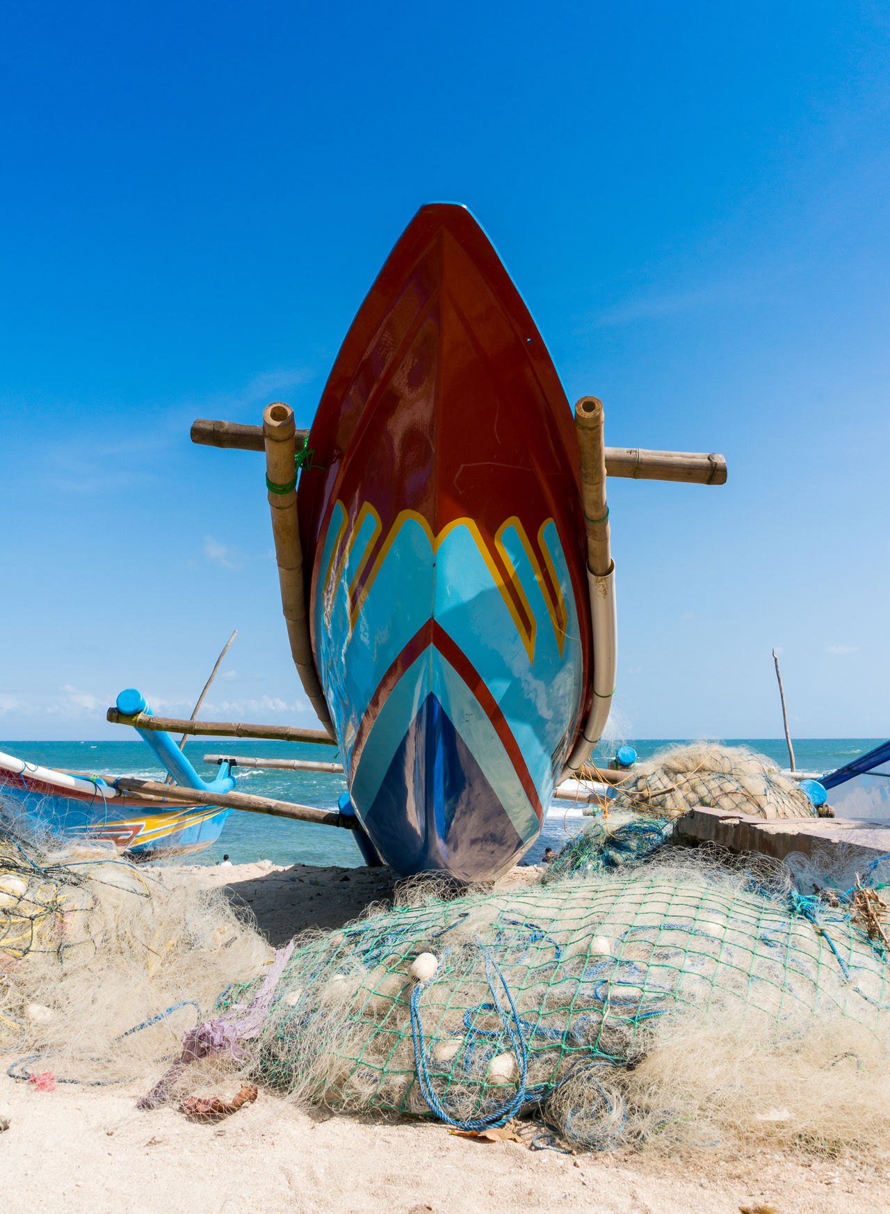 Beautiful stock photos of indonesia, Beach, Beauty In Nature, Boat, Commercial Fishing Net