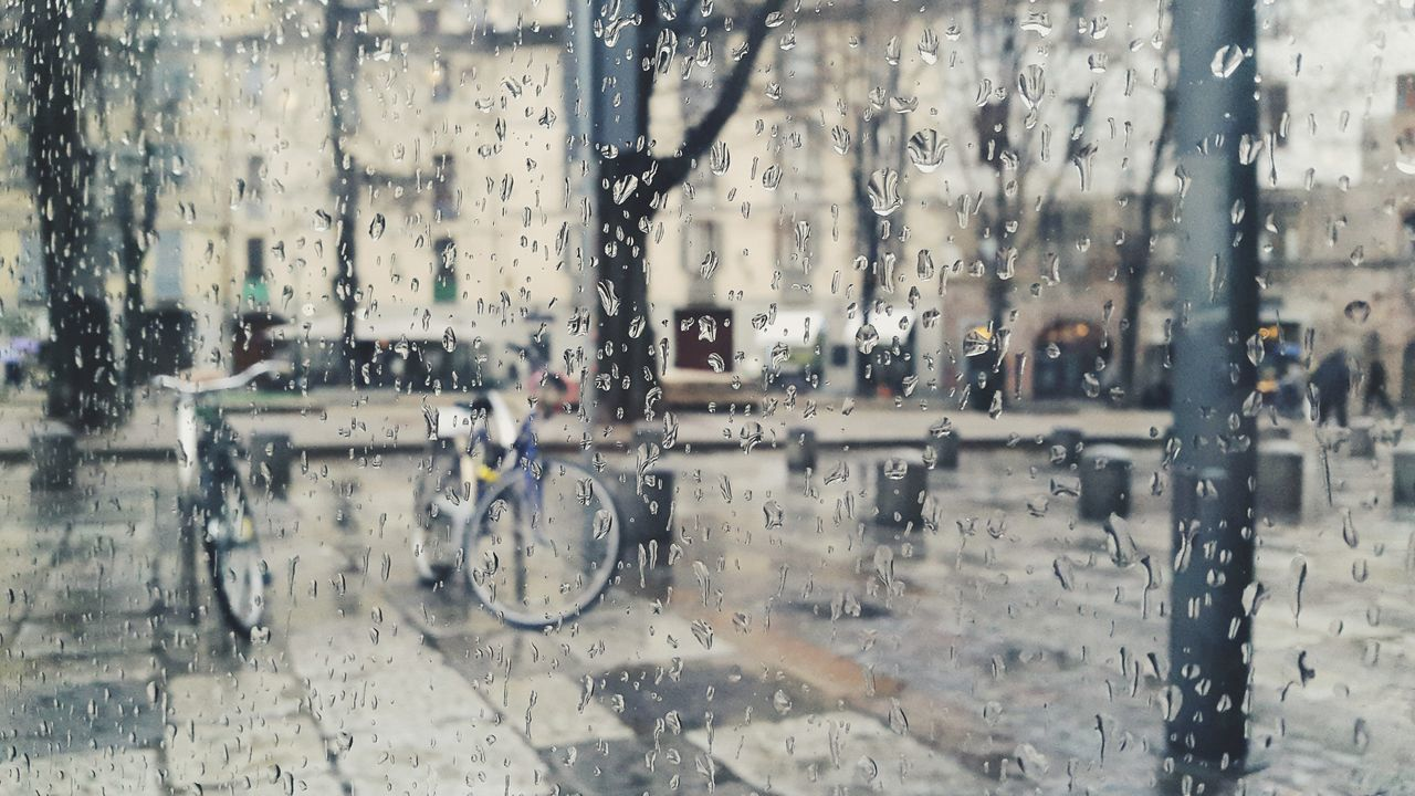 Rainy days Window Wet Mode Of Transport Water Land Vehicle Day No People Indoors  Close-up Nature Rain Drops Winter Glass Bike