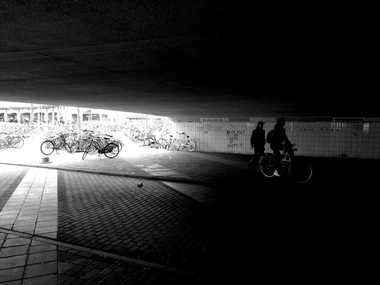 Lifestyles Real People Shadow Silhouette Two People Transportation Outdoors Architecture Black And White Black & White