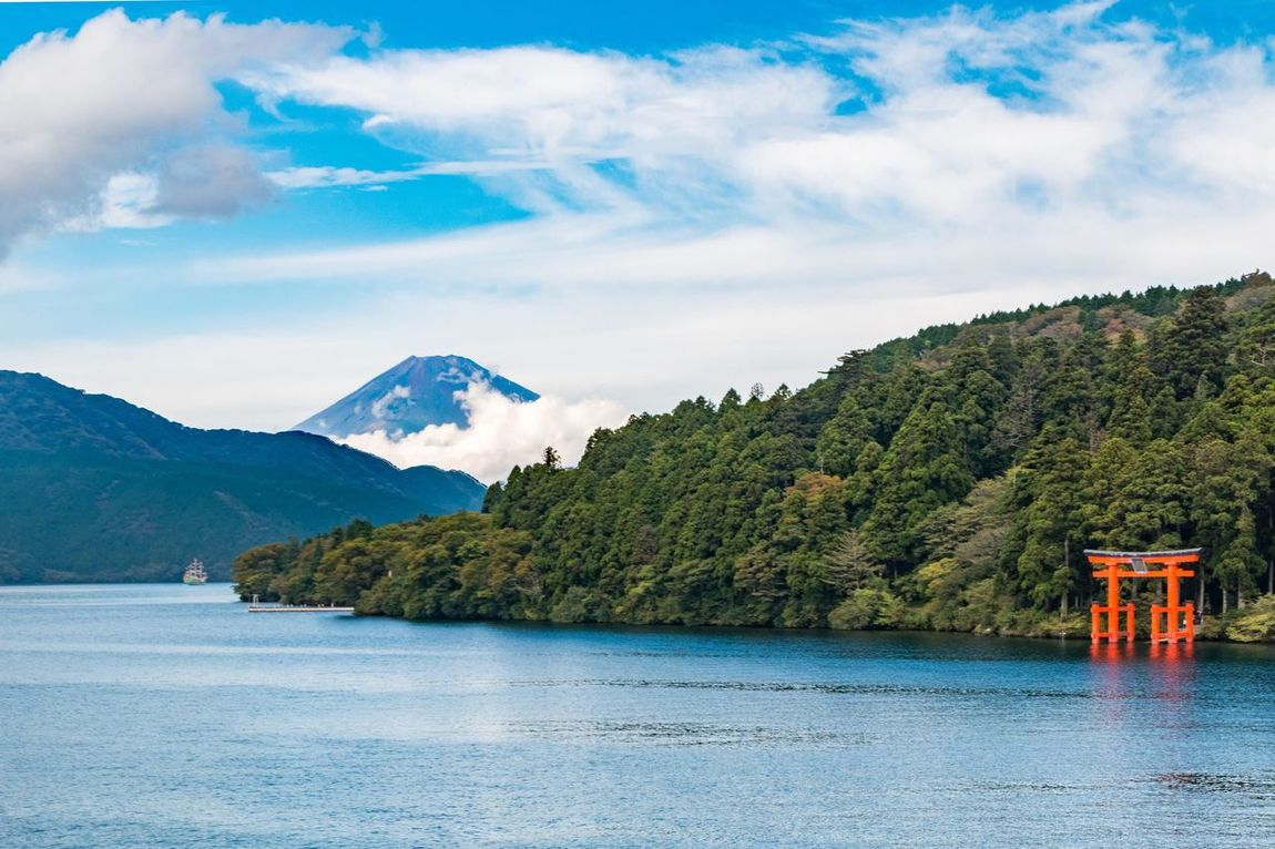 Lake Ashli, with a view of Mount Fuji and the Hakone Shrine Nature Sky Water Beauty In Nature Scenics No People Outdoors Day Mountain Mount FuJi Japan Hakone Shrine Landscape