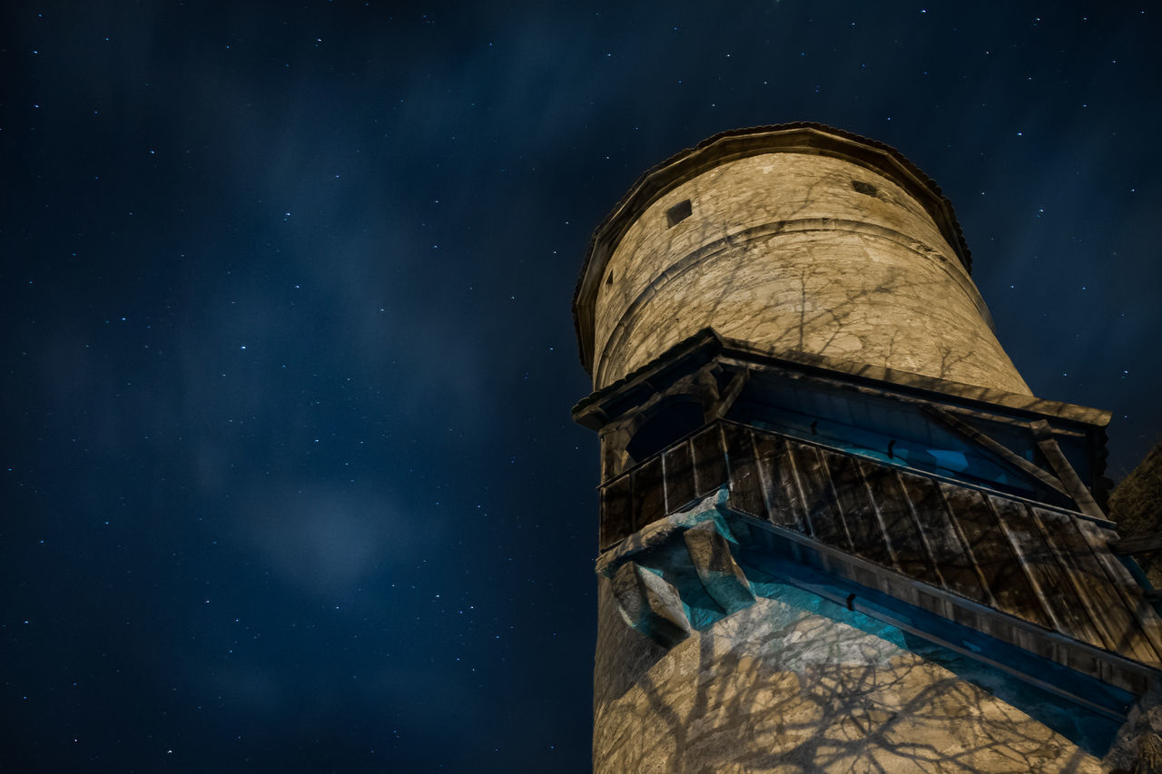 night, low angle view, built structure, astronomy, architecture, star - space, galaxy, constellation, star field, no people, astronomy telescope, building exterior, space, outdoors, sky
