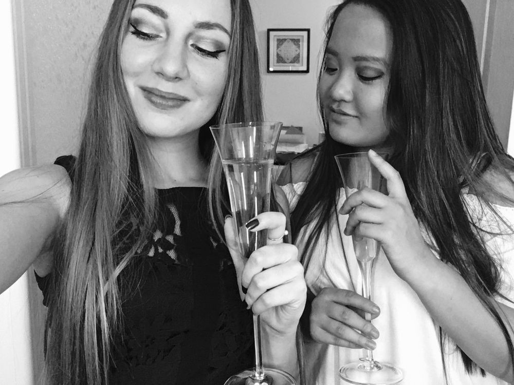 Blackandwhite Champagne Flute Happiness Friendship Drinking Glass Girls