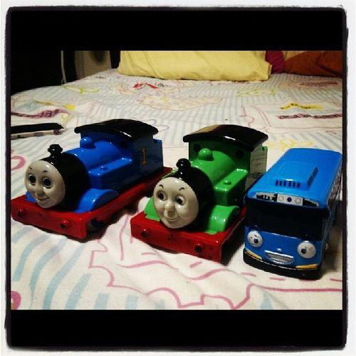 His fave toy: Thomas , Percy , Tayo