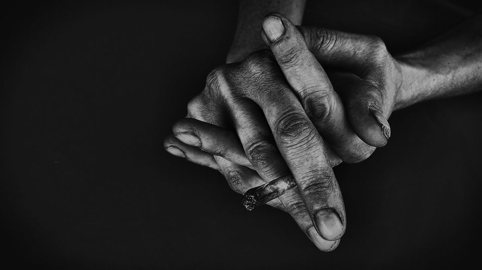 Beautiful stock photos of black & white, human hand, human body part, black background, close-up