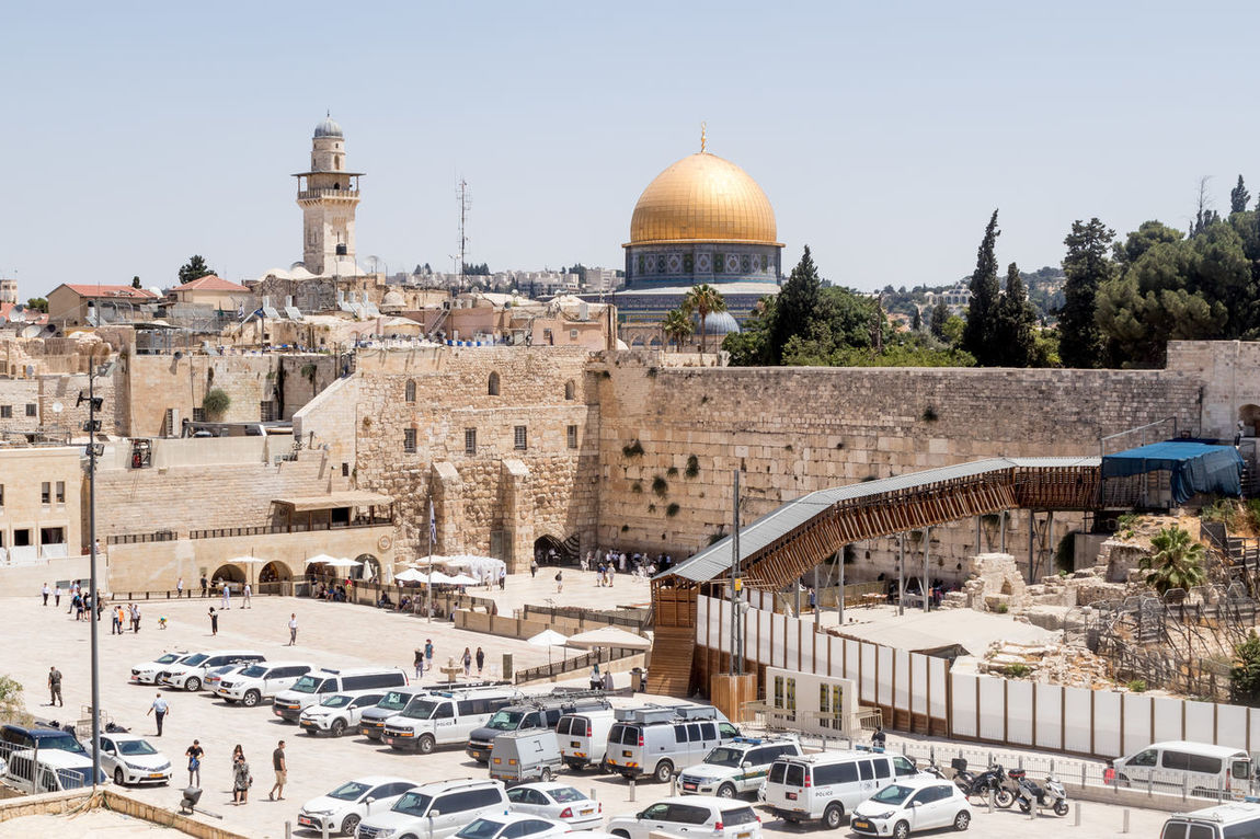 Jerusalem, Israel, July 14, 2017 : View of the Temple Mount and El-Ghawanima Tower in the Old City of Jerusalem, Israel Al-Aqsa Mosque Ancient Architecture Country Dung Gate El-Ghawanima Tower Israel, Holiday, Sky, Filter, Trees, Birds Jerusalem Cemetery Middle East Wall Arab Architecture Built Structure Culture Day Dome History Holy Jerusalem Judaism Mount Of Olives Muslim Old Religion Temple Mount
