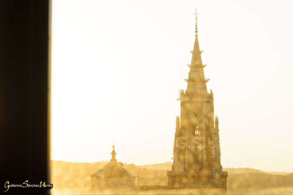 Toledo Spain Tower Cathedral Sunset Lights Yellow Through The Window Window Landscape Ancient Architecture