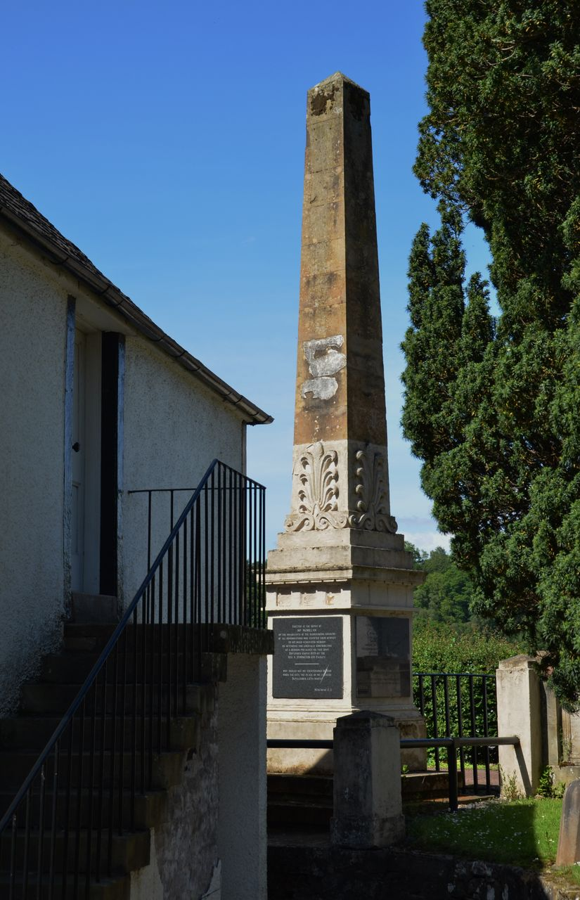 built structure, architecture, low angle view, building exterior, day, architectural column, outdoors, clear sky, steps, history, tree, no people, blue, sky, nature, ancient civilization