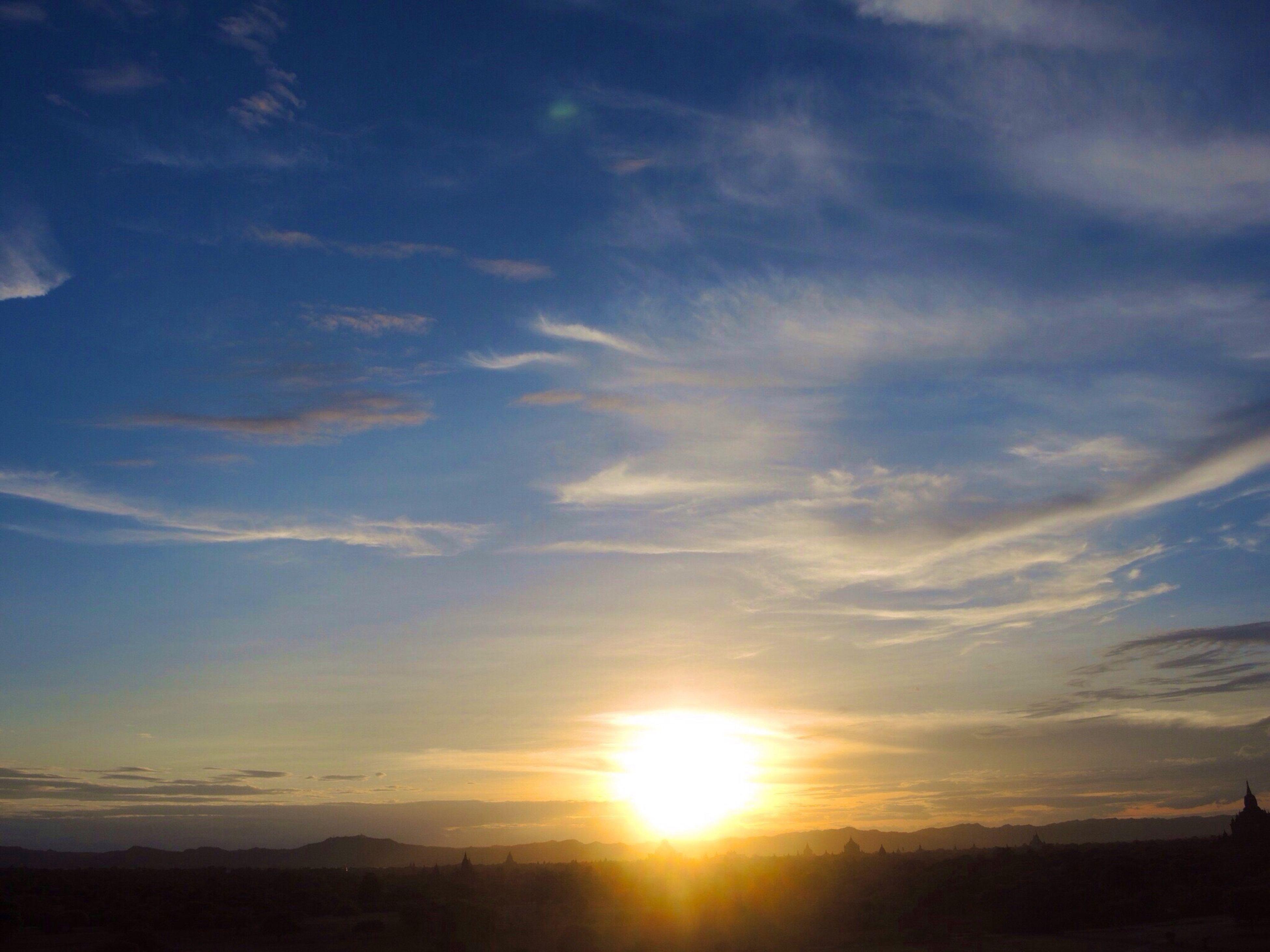 sunset, sun, sky, tranquil scene, scenics, tranquility, silhouette, beauty in nature, landscape, sunbeam, cloud - sky, sunlight, nature, idyllic, cloud, lens flare, mountain, non-urban scene, outdoors, no people