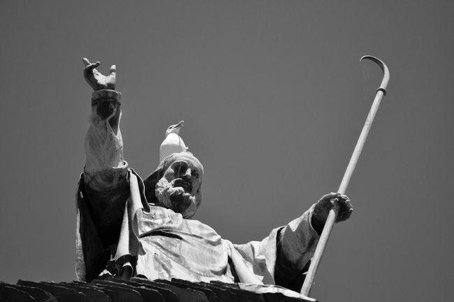 Blackandwhitephotography Black&white Black And White Photography Blackandwhite Photography Sculpture Human Representation Low Angle View Statue Religion Art Spirituality Clear Sky Seagull Seagulls