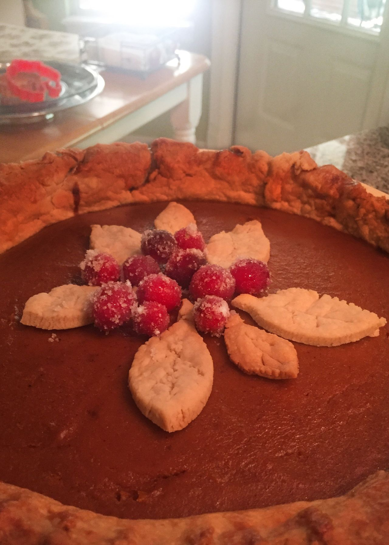 Pumpkin pie with Candied cranberry garnish. Pumpkin Pie Cranberries Kitchen Recipe Candied Squash Holiday Traditional Temptation Dessert Ready-to-eat Close-up Thanksgiving Autumn Amateur Festive Family Sweet Food No People Indoors  Food Day Freshness Warm Love
