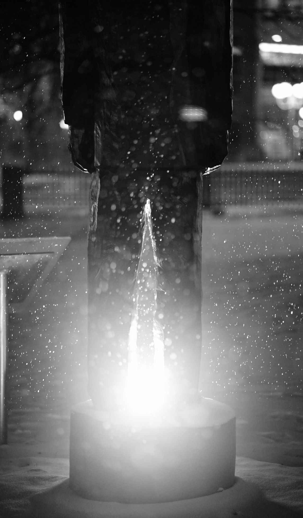 snow covered statue Black And White Close-up Cold Evenign Evening Frigid Illuminated Man Monochrome Park Reflection S Sky Statue Statur
