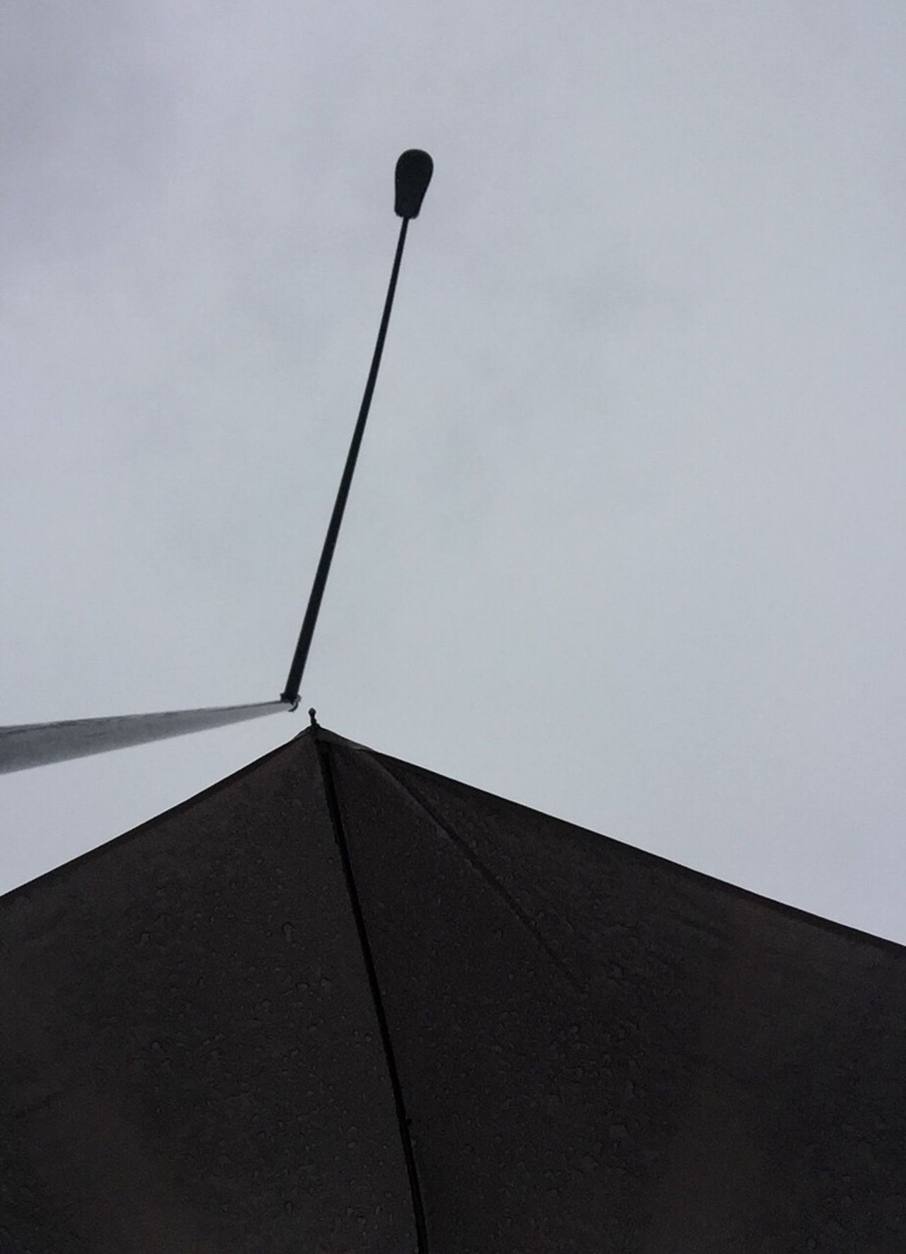 Low Angle View Sky Rain Umbrella Grey Streetlight