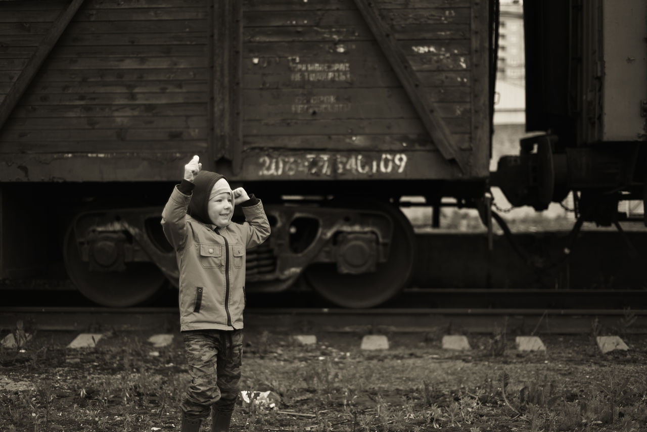 Boy Childern Full Length Lifestyles Old Train Rails Real People Sepia