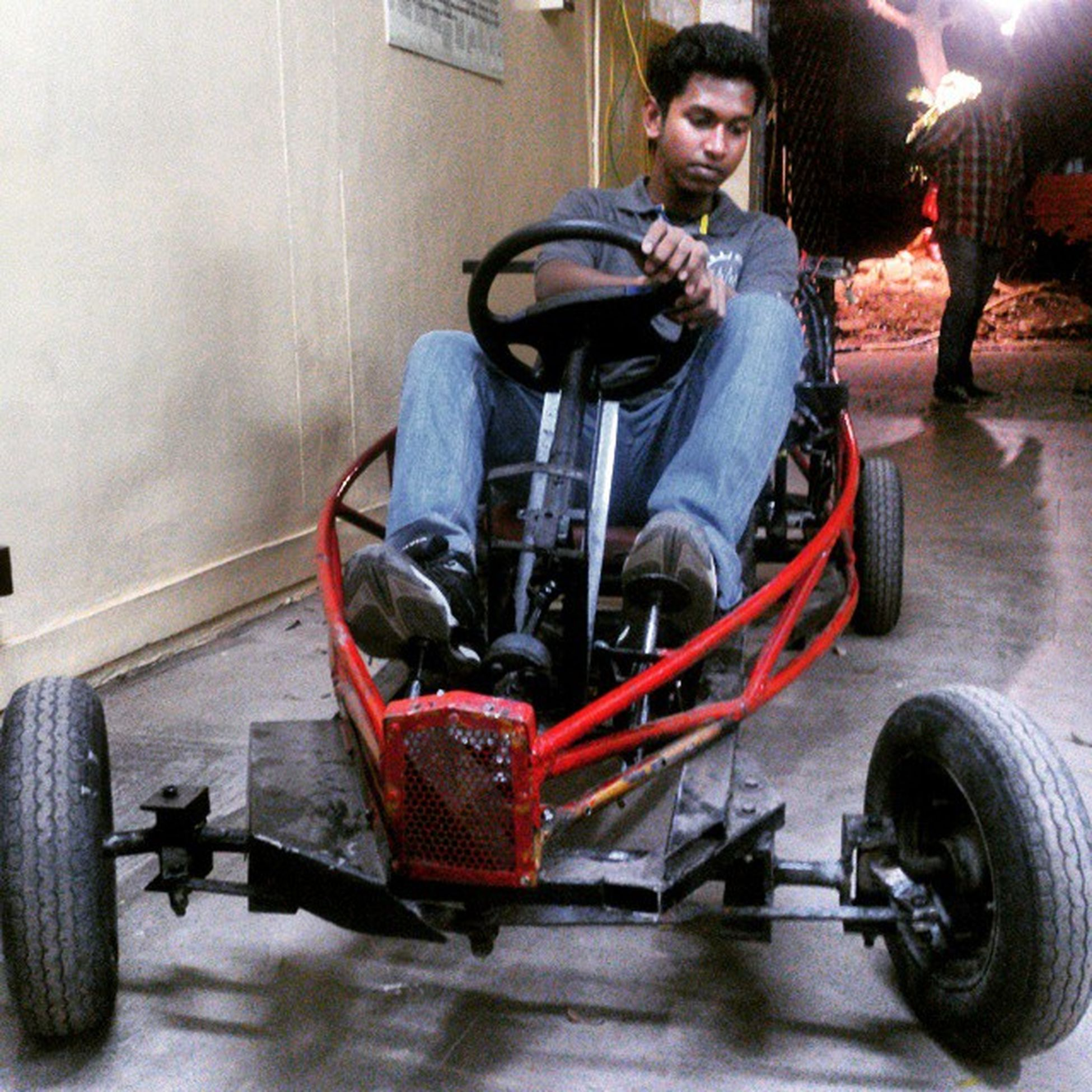The final finished product! Mindkraft 2K15 Gocart Made Indegionesly Project Seniorsvsjuniors Crazy Fun Driving At Night Honda Activa Engine Maxed @60kmph Heavy Frame Aerospace Engineer Doing Mechanical Project