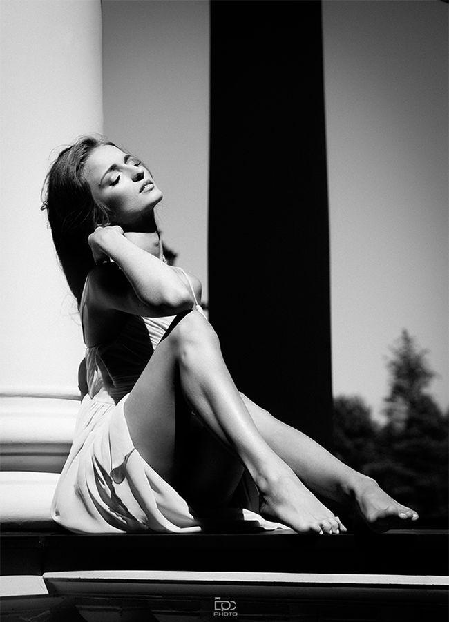 Black And White One Woman Only Only Women Sitting Beauty One Person Person Beautiful Woman Beautiful People Adult Vertical Fashion Grace Mood Pretty Outdoors Sunny Summer Dress Polish Girl NorwegianGirl