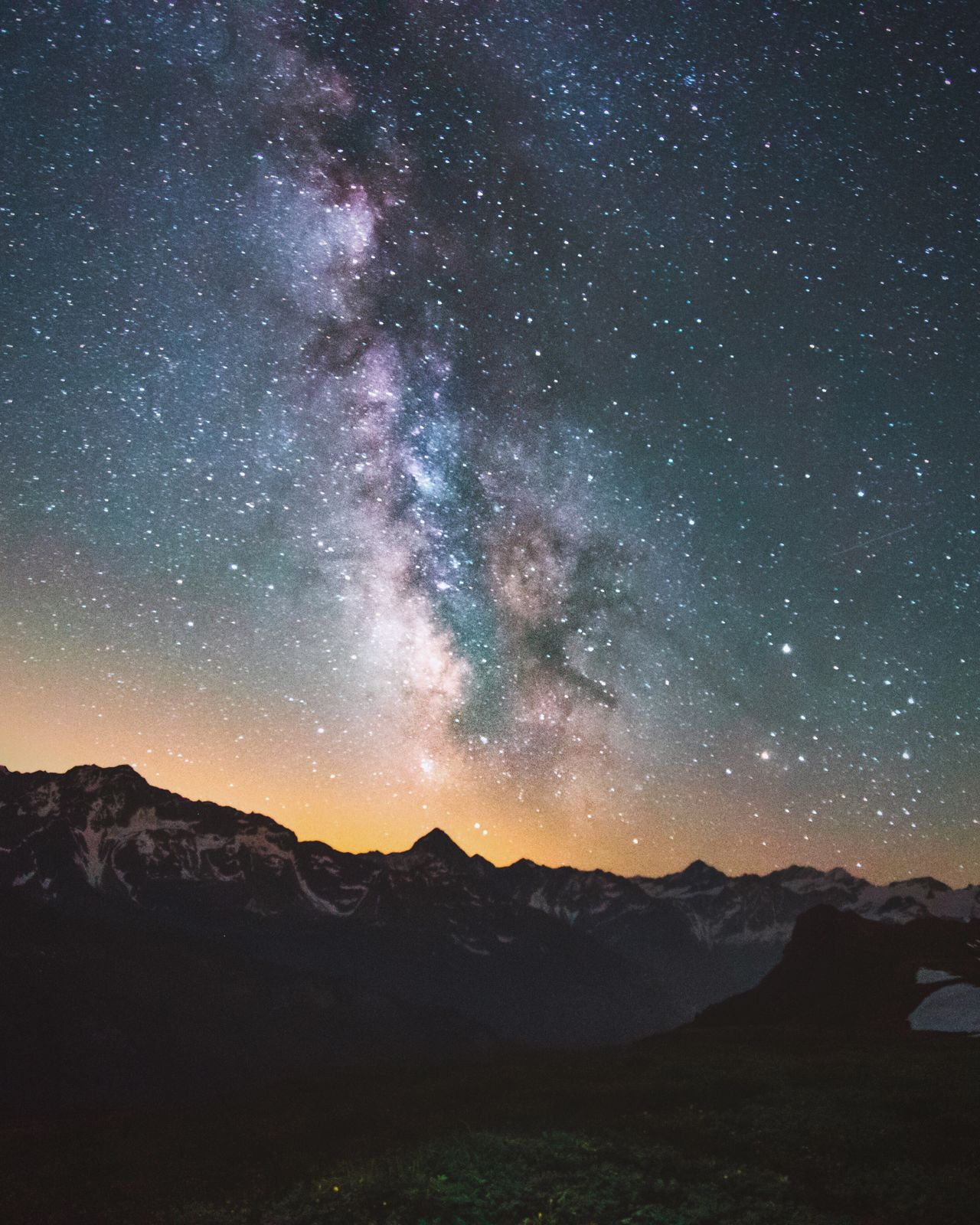 Nightphotography Milkyway Starry Sky Mountains Landscape Nature Stars Night Sky Colors Long Exposure Switzerland