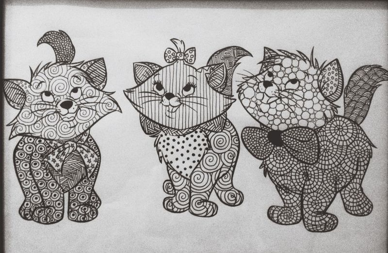 Zentangle Doodle Doodleart Drawing Freehand Kitty Aristocats