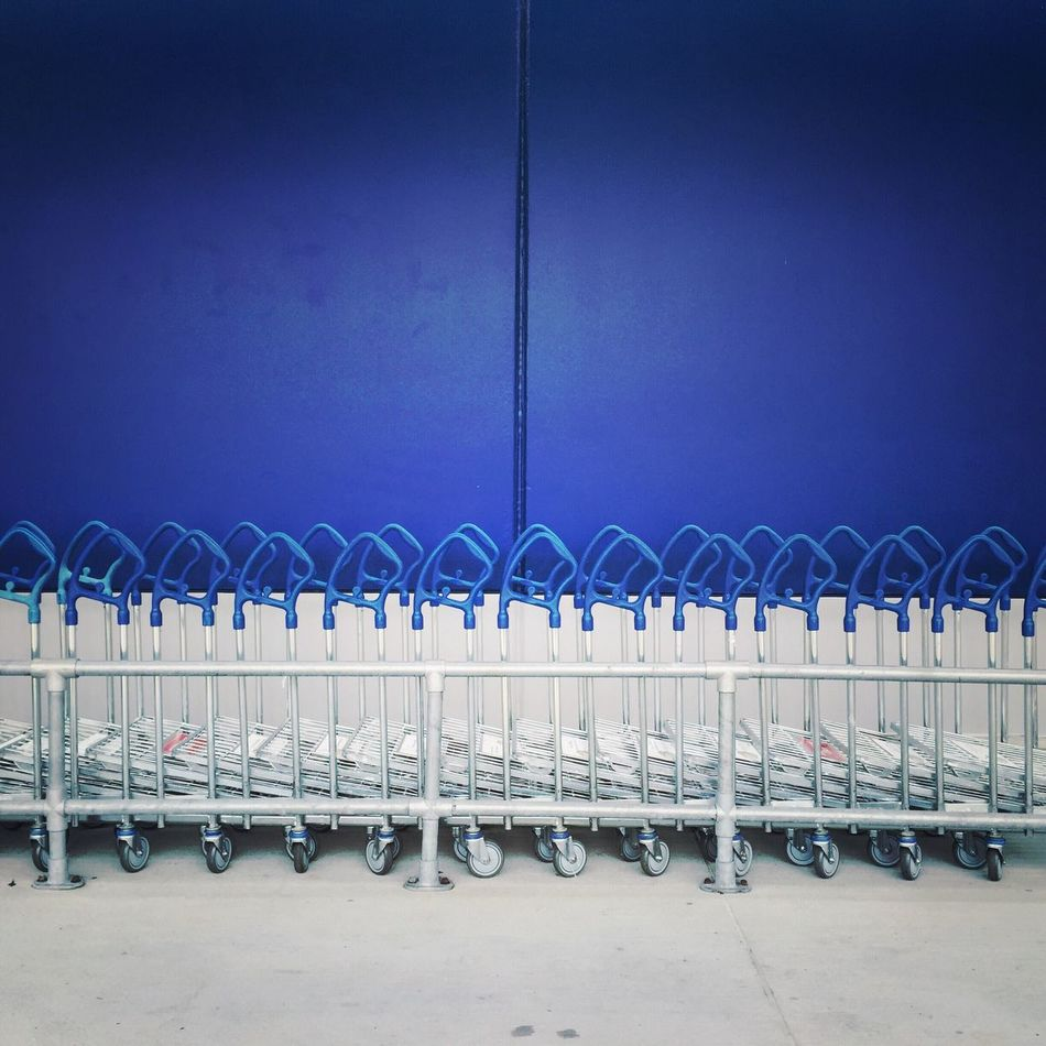 Blue In A Row No People Shopping Fresh On Market 2016