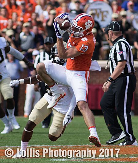Clemson receiver Hunter Renfrow makes a catch vs Wake Forest on October 7 at Memorial Stadium in Clemson. Clemson Football Clemson Tigers ACC Football NCAA Football College Football Sports Photography
